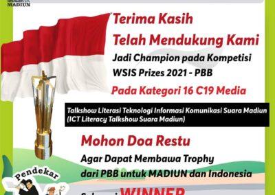 Untuk Kedua Kali, Madiun Menjadi Top 5 WSIS Prize Kategori Media